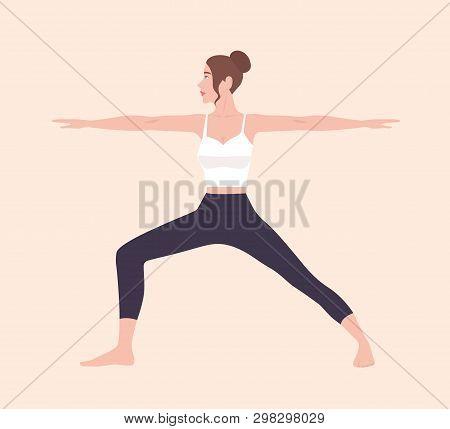 Cute Slim Woman In Virabhadrasana Ii Or Warrior Pose. Female Cartoon Character Demonstrating Hatha Y
