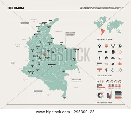 Vector Map Of Colombia. High Detailed Country Map With Division, Cities And Capital Bogota. Politica