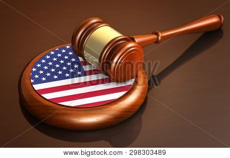 American Law And Justice Of The United States Of America Concept With A 3d Illustration Of A Judge G