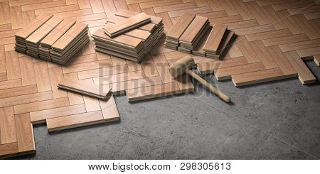 Wood parquet laid on the floor. House construction and renovation concept. 3d illustration
