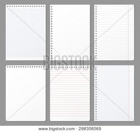 Notebook Sheet. Sheets Torn From Notebook, Paper Note Lined Page And Copybook Notepad Padded Paper V