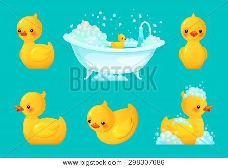 Yellow Bath Duck. Bathroom Tub With Foam, Relaxing Bathing And Spa Rubber Ducks Cartoon Vector Illus