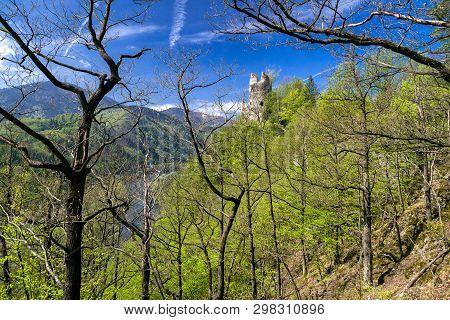 Medieval Strecno Castle On The Cliff, Slovakia..