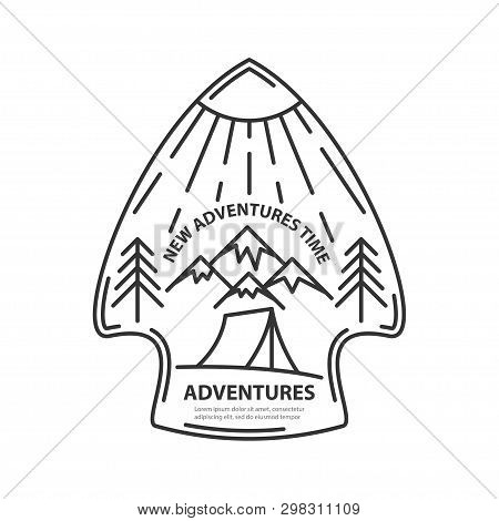 Arrowhead Template With Place For Text In Line Style. Travel Theme Mountains And Tent, Pine Tree And