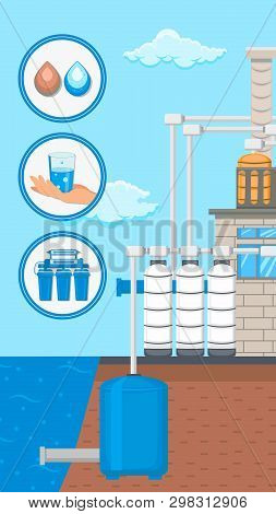 Water Supply And Purification System Vector Flyer. Sewage Filtration Flat Illustration. Plumbing Pip