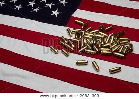 US Flag with bullets/ammunition