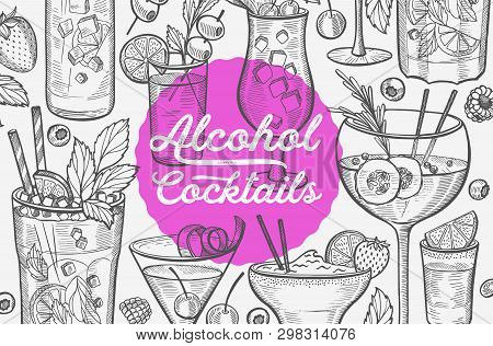 Cocktail Illustration - Margarita, Mojito, Gin Tonic, Mimosa, Pina Colada, Long Island, Manhattan, M