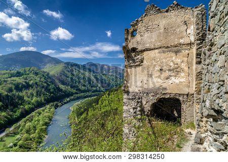 Ruins Of Medieval Castle Starhrad In Slovakia