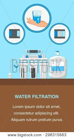 Water Filtration Flyer Flat Layout With Text Space. Reverse Osmosis System Vector Brochure. Hand Hol