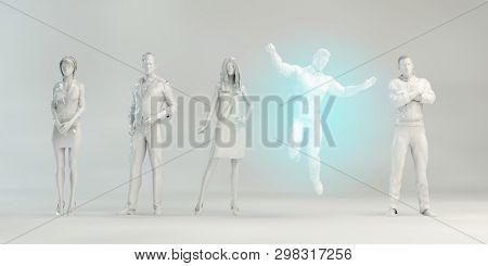 Business Man Celebrating Success as as Corporate Concept 3D Render