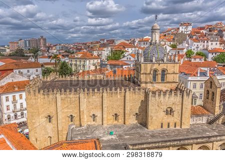 Coimbra / Portugal - 04 04 2019 : Aerial View Of The Medieval Building Of Coimbra Cathedral, Coimbra