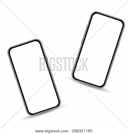 Realistic 3d Smartphone Template Isolated On White Background With Copy Space On Touch Screen. Front