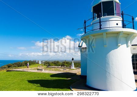People Visiting Crowdy Head Lighthouse, A Headland Between Forster And Port Macquarie, In New South