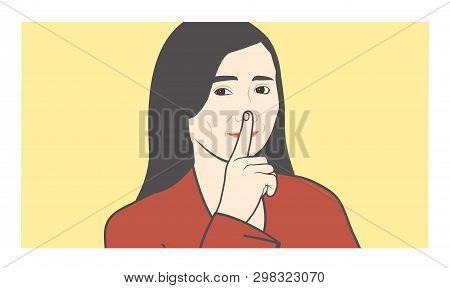 Quiet Please, Shhh, W Finger To Nose Making Shush Sound