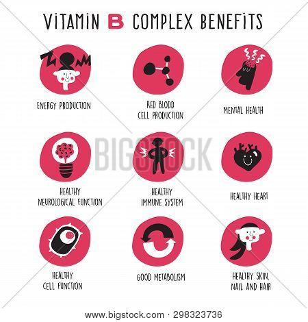 Vitamin B Complex Benefits. Vector Cartoon Icons Set.