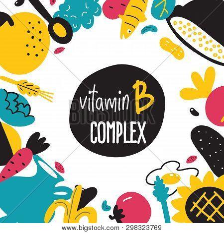 Vitamin B Cartoon Food Illustration. Food Ingredients With Text Space.