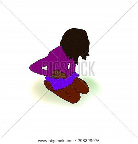Little Black Dark Skinned Girl Sitting Holding Hands On Her Tummy, Belly, Abdomen. Abdomenal, Liver