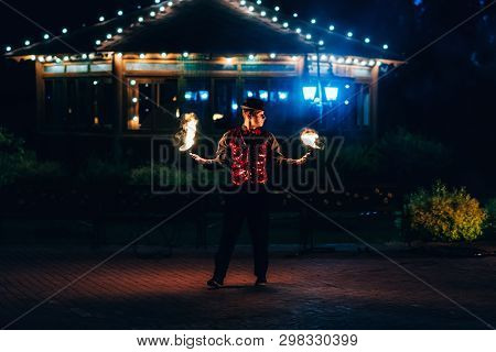 Semigorye, Ivanovo Oblast, Russia - June 26, 2018: Fire Show. Professional Male Dancer Fakir With A