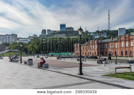 Vladivostok, Russia-august 11, 2018: Tsarevich Embankment In The Evening With Dancing People.