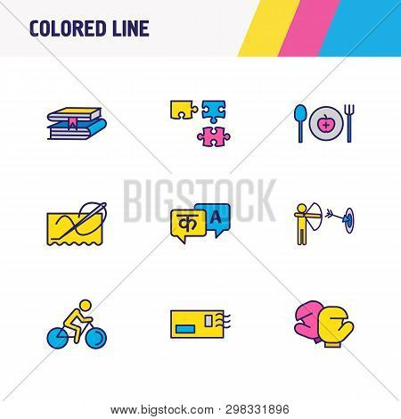 Vector Illustration Of 9 Hobby Icons Colored Line. Editable Set Of Archery, Stitching, Puzzle And Ot
