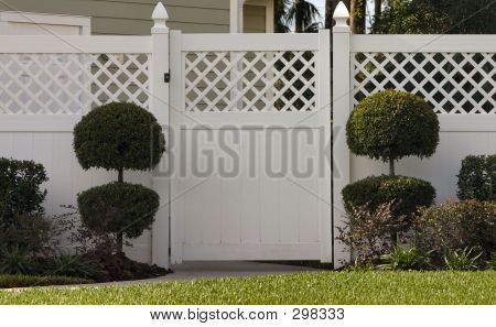Gate With Topiaries