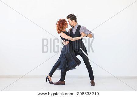 Social Dance, Kizomba, Tango, Salsa, People Concept - Beautiful Couple Dancing Bachata On White Back