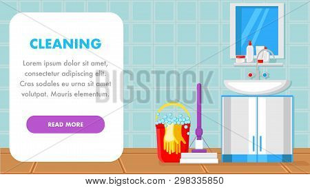 Cleaning Supplies Landing Page Vector Template. Floor Mop In Bathroom Web Banner With Text Space. Wa