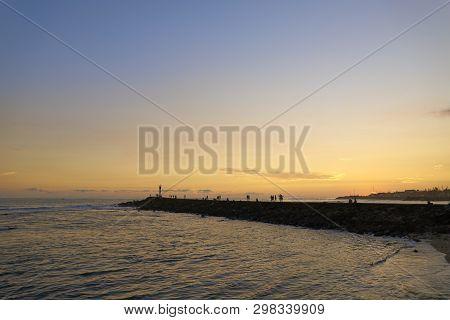 Sunset Over Fishermen Village Terre-sainte , Saint-pierre, Reunion Island