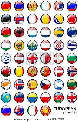 Button European Flags over white
