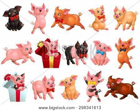 Big Set Joyful, Cute And Lovely Pigs On White