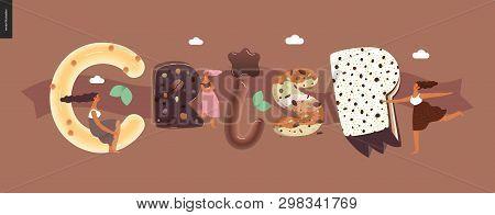 Dessert Lettering - Crisp - Modern Flat Vector Concept Digital Illustration Of Temptation Font, Swee