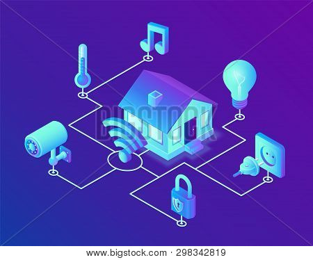 poster of Smart home system concept. 3D isometric remote house control system. IOT concept. Smart home connection and control with devices through home network. Internet of things. Vector illustration.