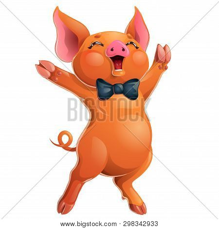 Joyful Red Pig With Bow On White