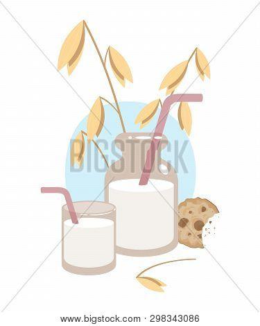 Oat Milk. Vector Illustration On White Background. Eps 10