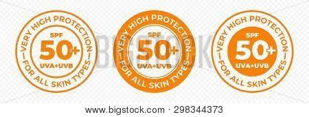 Spf 50 Sun Protection, Uva And Uvb Vector Icons. Spf 50 Plus High Sunblock, Skin Uv Protection Lotio