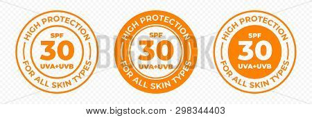 Spf 30 Sun Protection, Uva And Uvb Vector Icons. Spf 30 High Uv Protection Skin Lotion And Cream Pac