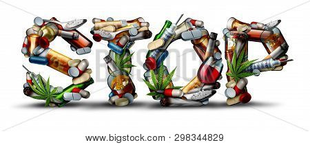 No Drug Addiction And Stop Drugs Icon As A Health Issue Representing The Dangers And Risk Of Smoking