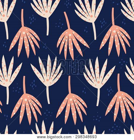 Palm Red Leaves Hand Drawn Seamless Pattern. Abstract Botanical Drawing On Blue Background. Naive Ba