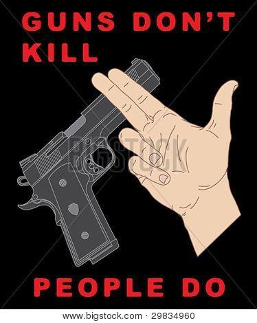 Hand crossing handgun and anti-violence slogan