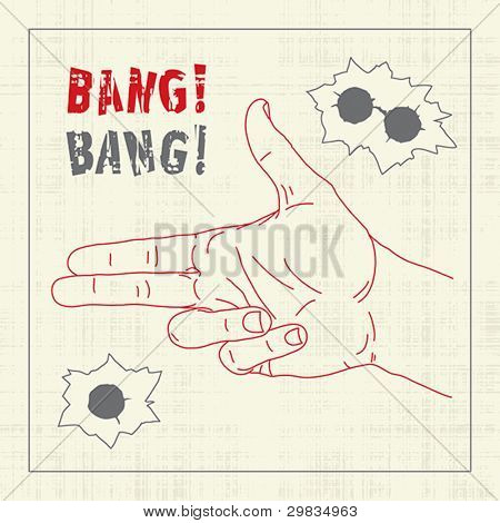 Hand with shooting gesticulation and bullet holes