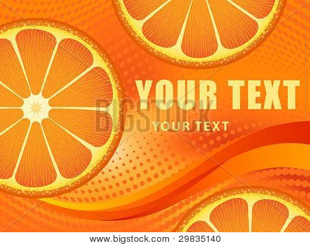 Template with orange fruit slices