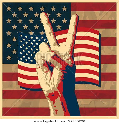 The Victory sign with USA flag background