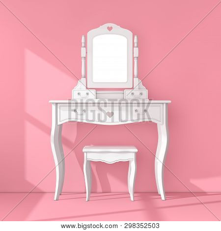Antique Bedroom Vanity Table With Stool And Mirror In Pink Room Extreme Closeup. 3d Rendering