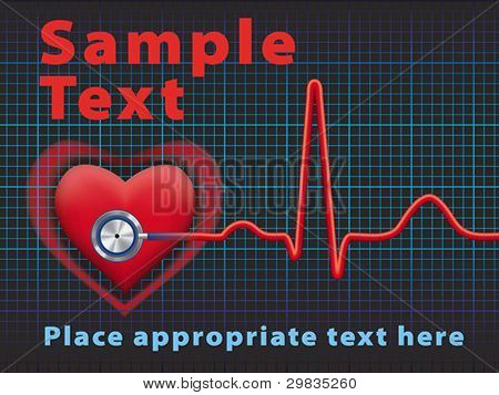 Heart symbol and stethoscope with normal electrocardiogram line, cardiac monitor, Vector format EPS 8, CMYK.