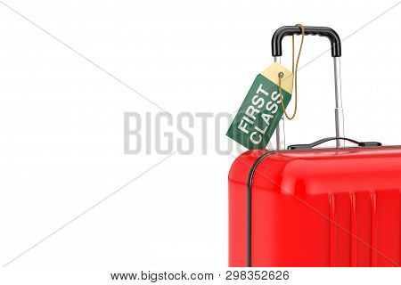 Red Suitcase With Hand Luggage Flight First Class Tag Label On A White Background. 3d Rendering