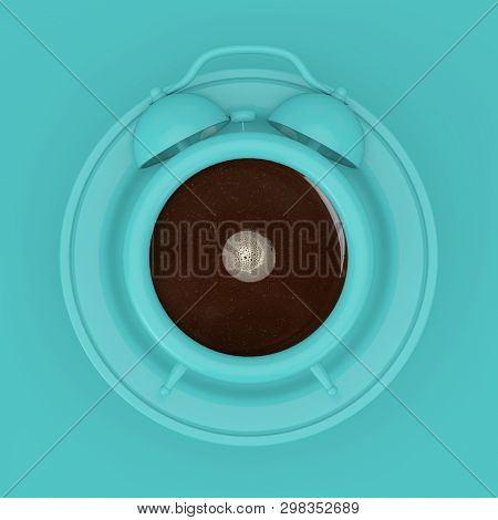 Coffee Break Concept. Bluecoffee Cup As Alarm Clock With Plate On A Blue Background 3d Rendering