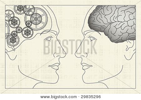Two opposite profiles with brain and gears inside, Vector format EPS 8, CMYK.