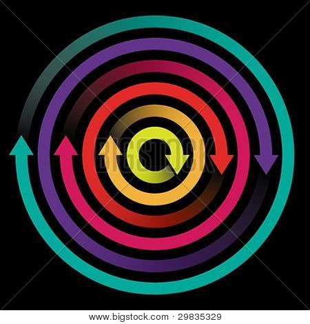 Concept of circulation, rotation with colored arrows, Vector format EPS 8, CMYK.