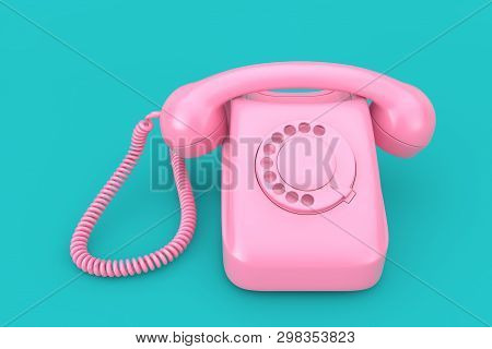 Pink Vintage Styled Rotary Phone On A Blue Background 3d Rendering