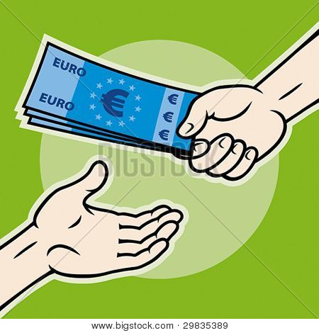 Hand, giving money (euro banknotes) to other hand, Vector format EPS 8, CMYK.